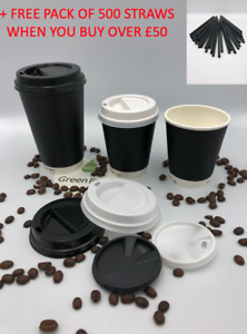 Details about 200 X Disposable Paper Coffee Cups For Hot Drinks Black Brown Blue With Lids