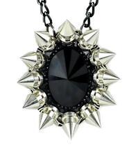 Large Black Stone Necklace w/ Chaos Star Spikes Goth Emo Punk Alternative Grunge