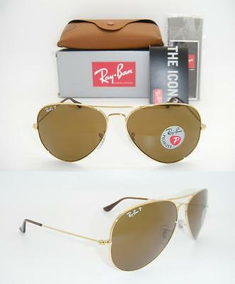RAY BAN AVIATOR 3025 RB 3025 001/57 62mm LARGE NEW GOLD FRAME BROWN POLARIZED