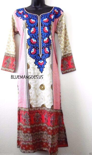 Womens Indian Pakistani LONG kurti kurta Printed tunic long sleeves 3xl new