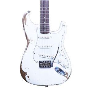 Heavy-Relic-Electric-Guitar-Alder-Body-Nitrolacquer-Stain-Finish-White-Color