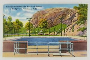 Postcard-Linen-Municipal-Swimming-Pool-Manchester-New-Hampshire