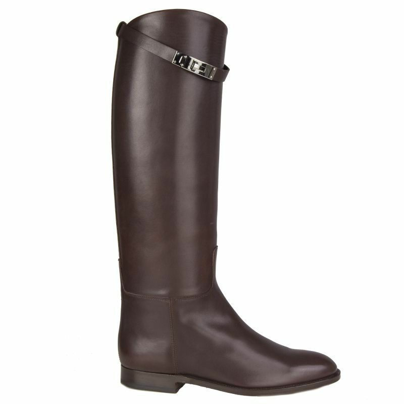 56243 auth HERMES Chocolate leather JUMPING Knee-High Riding Boots shoes 35.5