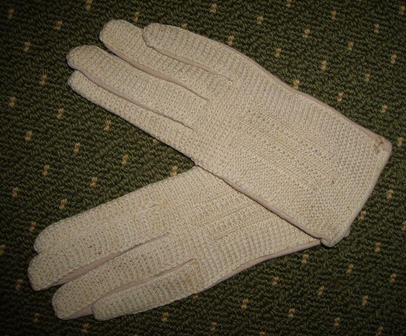 Persevering Vintage Beige Neutral Hand Crochet & Suede Victorian Gloves~