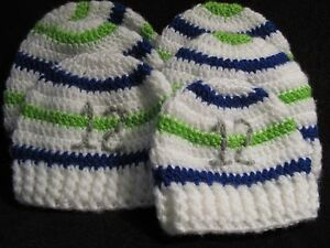 Crochet Soft Striped Seahawk Hats With Ribbed Edge Hand Made For
