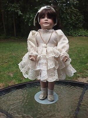 Porcelain Doll 14 Inch Tall Lace Dress Communion W Necklace