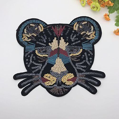 Leopard Sequins Embroidered Sew On Patch Badge Clothes Bag Tops Fabric Applique