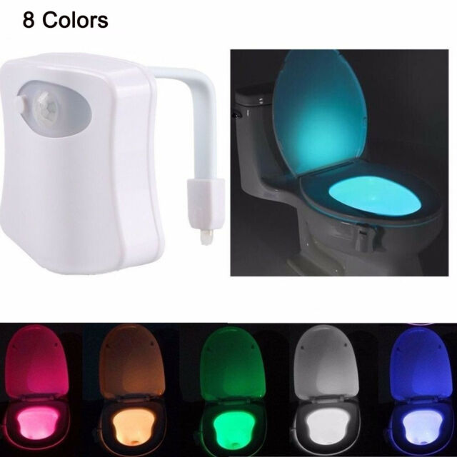 LED Motion Sensing Automatic Toilet Bowl Night Light 8 Color Convenience EH