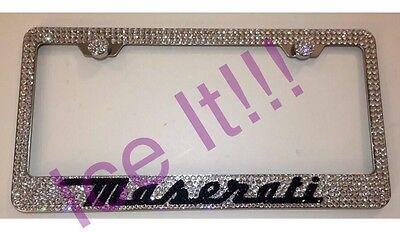 Maserati Stainless Steel license plate frame W Swarovski Crystals
