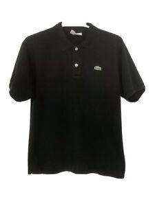 LACOSTE-Mens-Black-100-Cotton-Croc-Logo-Short-Sleeve-Golf-Polo-Shirt-Size-4