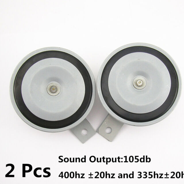 2 Pcs Metal Gray Hood Grille 105db Mount Super Tone Loud 12V Compact Horn
