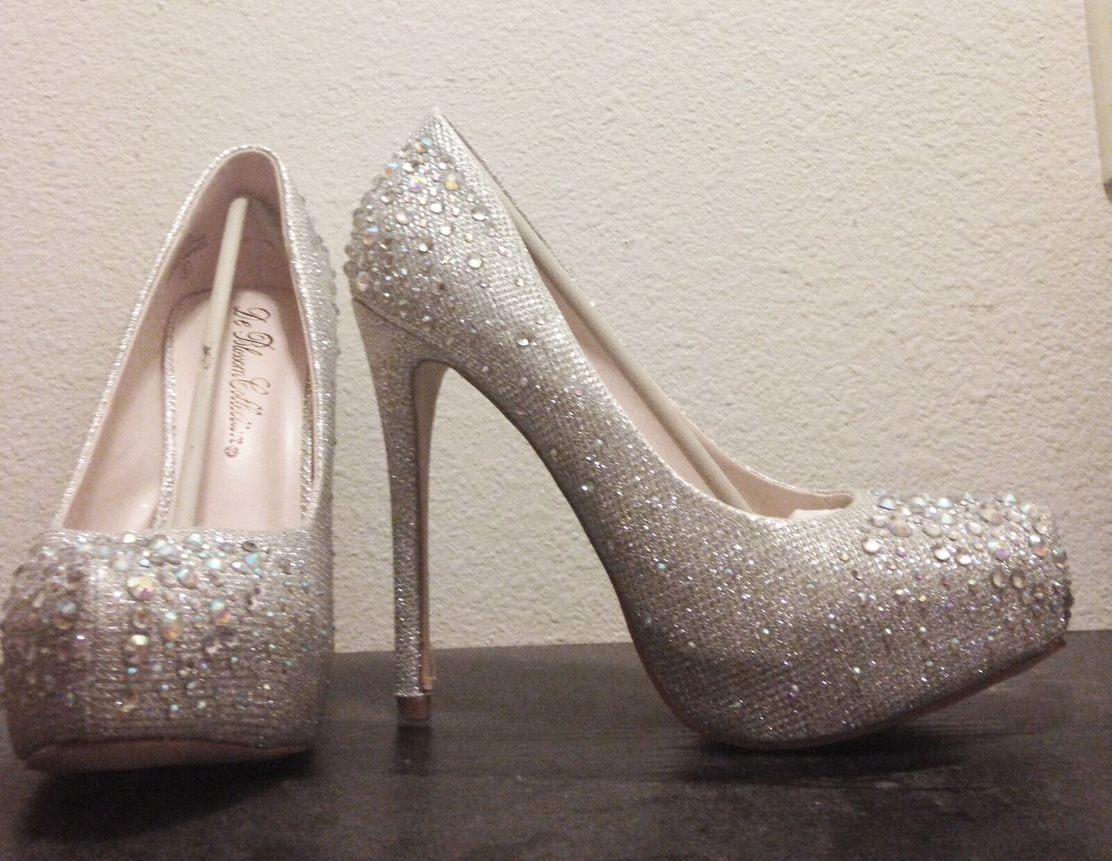 New David's Bridal Glitter Mesh Platforms with Crystals Silver (Never Worn)