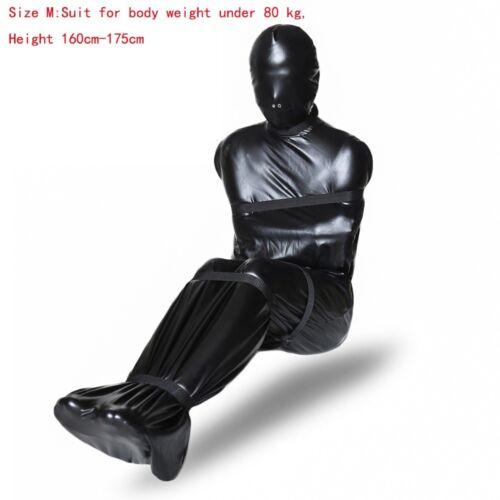 Zurückhaltung Mamabeutel Schlafsack-Kostüm Schwarzer Armgeschirr Ganzkörper-Gimp