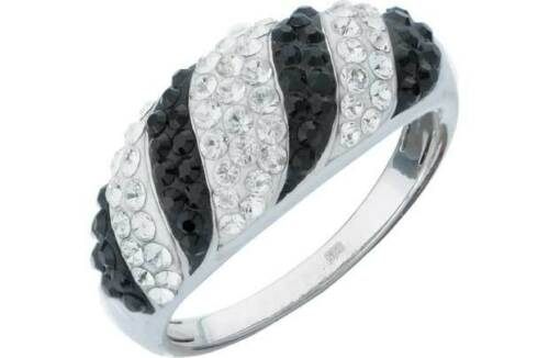 Bands Size N Solid Sterling Silver Black /& White Set Cubic Zirconia Rings