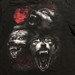 Vintage Three Wolf Demonic Possessed Rancid Red Moon Viscous T-shirt Black 2XL