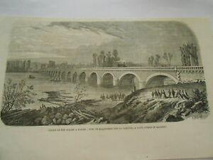 SéRieux Gravure 1865 - Chemin De Fer D'agen à Tarbes Pont En Maconnerie Garonne Bon Pour L'éNergie Et La Rate