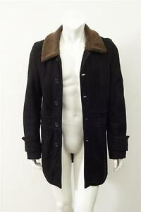 Valentino Mens Black Brown Collar Leather Suede Shearling Jacket