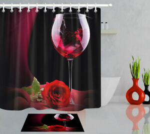 Halloween Undead Woman Skull Red Roses Waterproof Fabric Shower Curtain Set 72/""