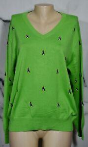 J-MCLAUGHLIN-Men-039-s-Green-Multicolor-V-Neck-Sweater-Medium-Embroidered-Penguins