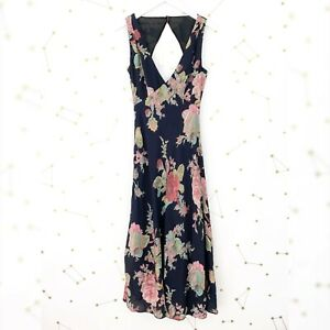 Privacy-Please-Maxi-Dress-Size-Small-S-Black-Floral-Sleeveless-Cut-Out-Open-Back