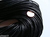 1 m CORDON Cuir noir 1,5mm (fil, collier, perles) DIY création bijoux loisirs
