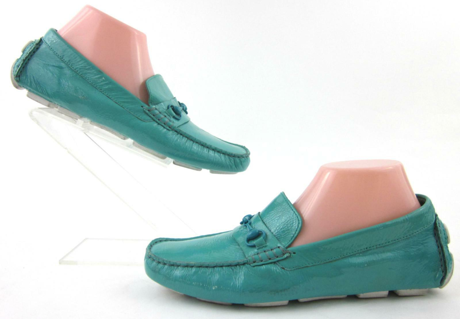 Cole Haan Womens Driving Moc Loafers Soft Turquoise Crinkle Patent Leather 8.5B