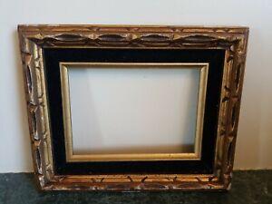 Vintage-Carved-Wood-Mid-Century-Modernist-Picture-Frame-Velvet-Liner-5-X-7