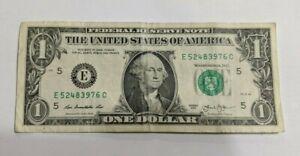 2013-1-Note-One-Dollar-Bill-Fancy-Serial-Number-Broken-Ladder-E-52483976-C