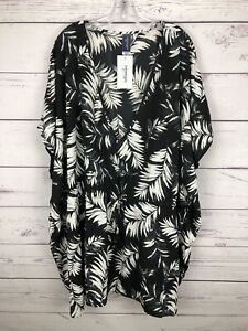 Swimsuits-For-All-Cover-Up-Women-s-Dress-Size-3X-4X-Palm-Print-Tassel-Tie-NWT