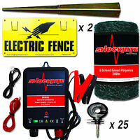 Electric Fence Energiser Srb06 Kit 200m Green Polywire 25 Short Insulator 2 Sign