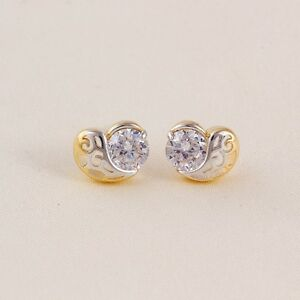 "8mm Gift 9k 9ct  /""GOLD FILLED/"" Women Girls Star stud Earrings with White Stones"