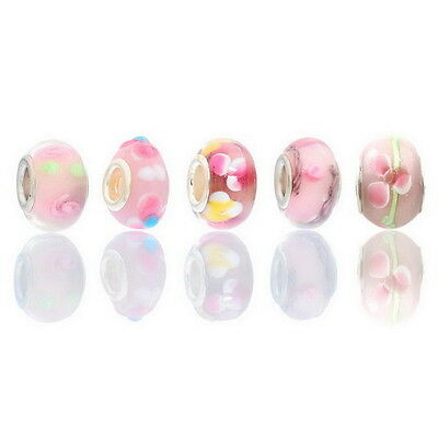 10PCs Pink Lampwork Glass European Charm Beads Fit Charm Bracelets