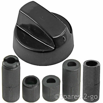 4 X Universal ZANUSSI Cooker//Oven//Grill Control Knob And Adaptors BLACK