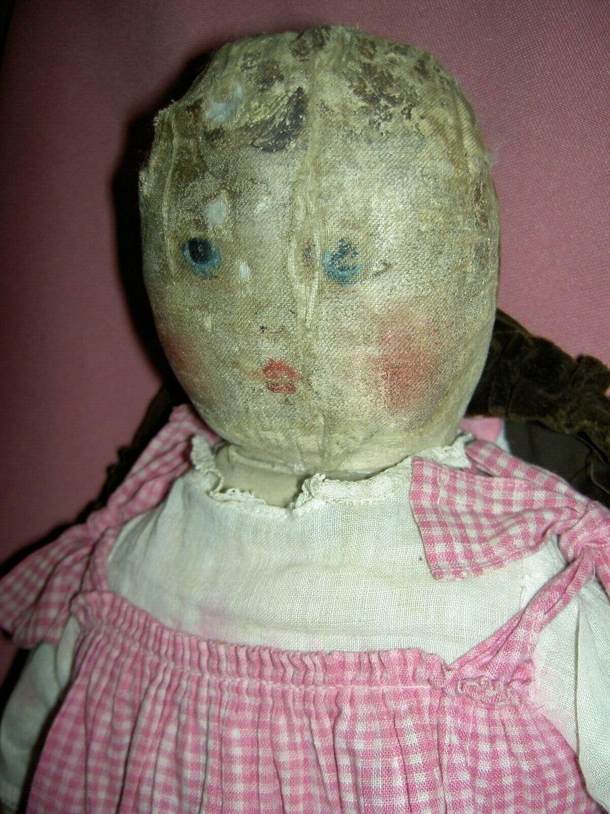 Raro Original 1891 Antiguo, Emma Adams, aceite pintado el legado colección de muñecas de tela Precolombino