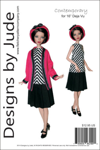 "Contemporary Doll Clothes Sewing Pattern for 16/"" Deja Vu Dolls Tonner"
