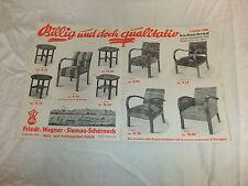 Reklame Werbeplakat Plakat Poster Möbel Prospekt Katalog Wagner Scherneck 1935