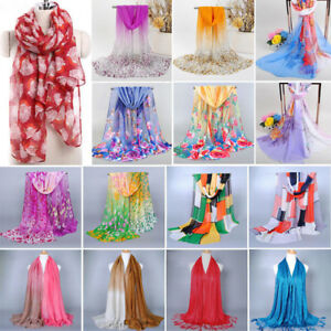 Womens-Long-Scarf-Floral-Printing-Hijab-Wrap-Silk-Satin-Winter-Tassel-Shawl-Lot