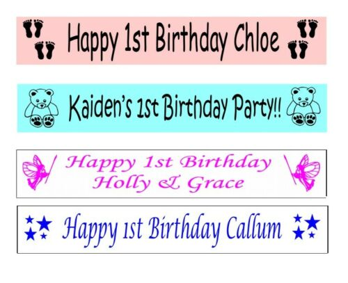 Personalised 1st Birthday Banners Banner 100mm x 1 metre Baby Blue Pink White