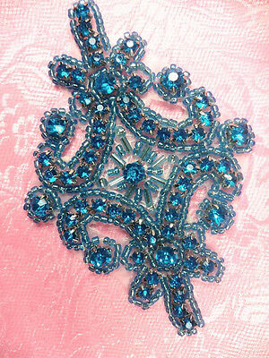 "JB115 Applique Turquoise Crystal Rhinestone Beaded 4"" Sewing Craft ( JB115-tr)"