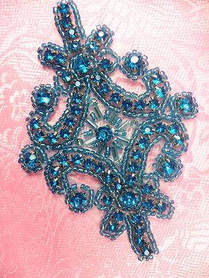 "JB115 Applique Turquoise Crystal Rhinestone Beaded 4"" Sewing Craft ( JB115-tr)"