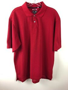 Adidas-CLIMALITE-Men-039-s-Athletic-Golf-Polo-Shirt-Top-Size-Large-Red-Striped-EUC