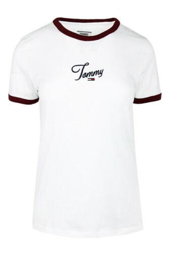 Damen T-Shirt Tommy Hilfiger Tommy Jeans Script Rin White DW0DW07430-YA2
