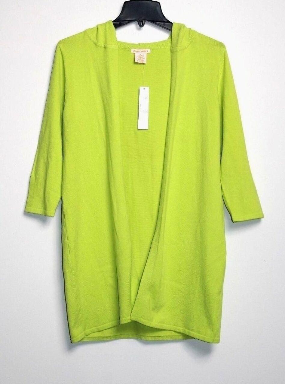 Sweet Romeo - M - Nuova con Etichetta - - - verde Neon Misto Cotone Cappuccio Lungo de71a9