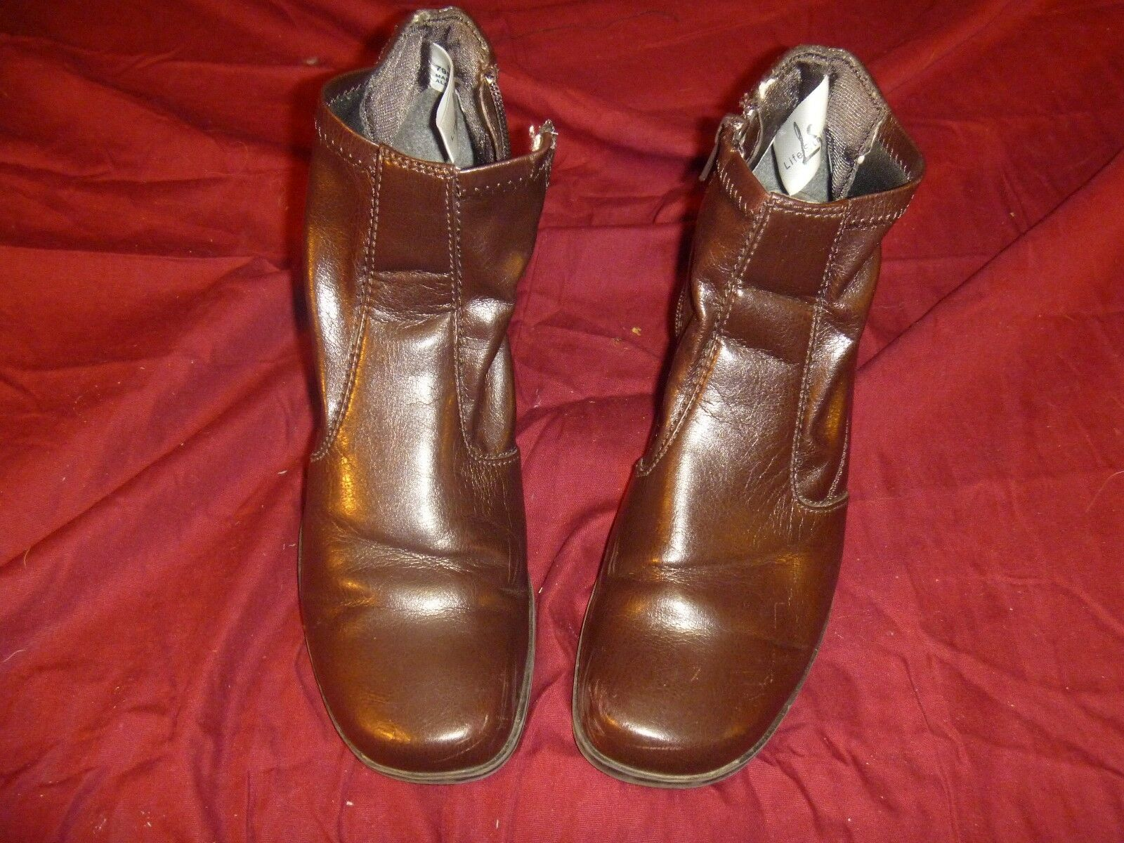 Life Stride Spicey ankle boot zip brown sz 8 1/2 Med  RB 11725