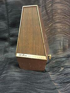 Diligent C.1970s Seth Thomas De Maelzel Conducteur Métronome Plastique Faux Boîtier En Bois E500-afficher Le Titre D'origine