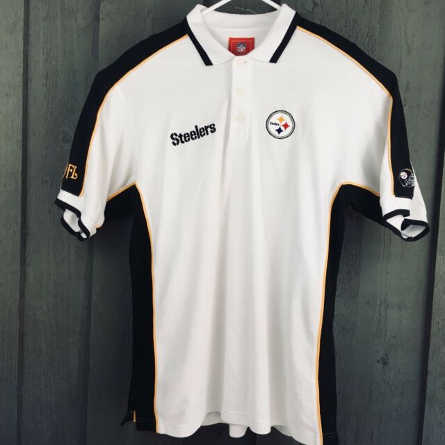 f83a0b79e Pittsburgh Steelers NFL Mens Golf Polo Shirt White Black Gold Size Large   L17