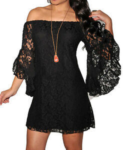 Bohemian-Drape-Off-Shoulder-Plus-Size-14-16-Maxi-Mini-Dress-Black-Lace-Summer