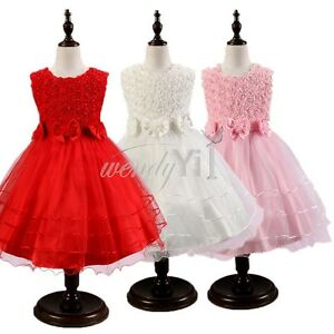 Flower Girl Kids Toddler Baby Christmas Princess Party Wedding Formal Tutu Dress