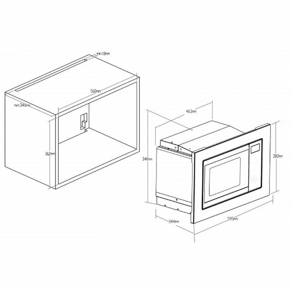 InsTailletion micro-ondes intégrés avec cadre PKM mw820 EBM acier inoxydable 800 W 60 cm
