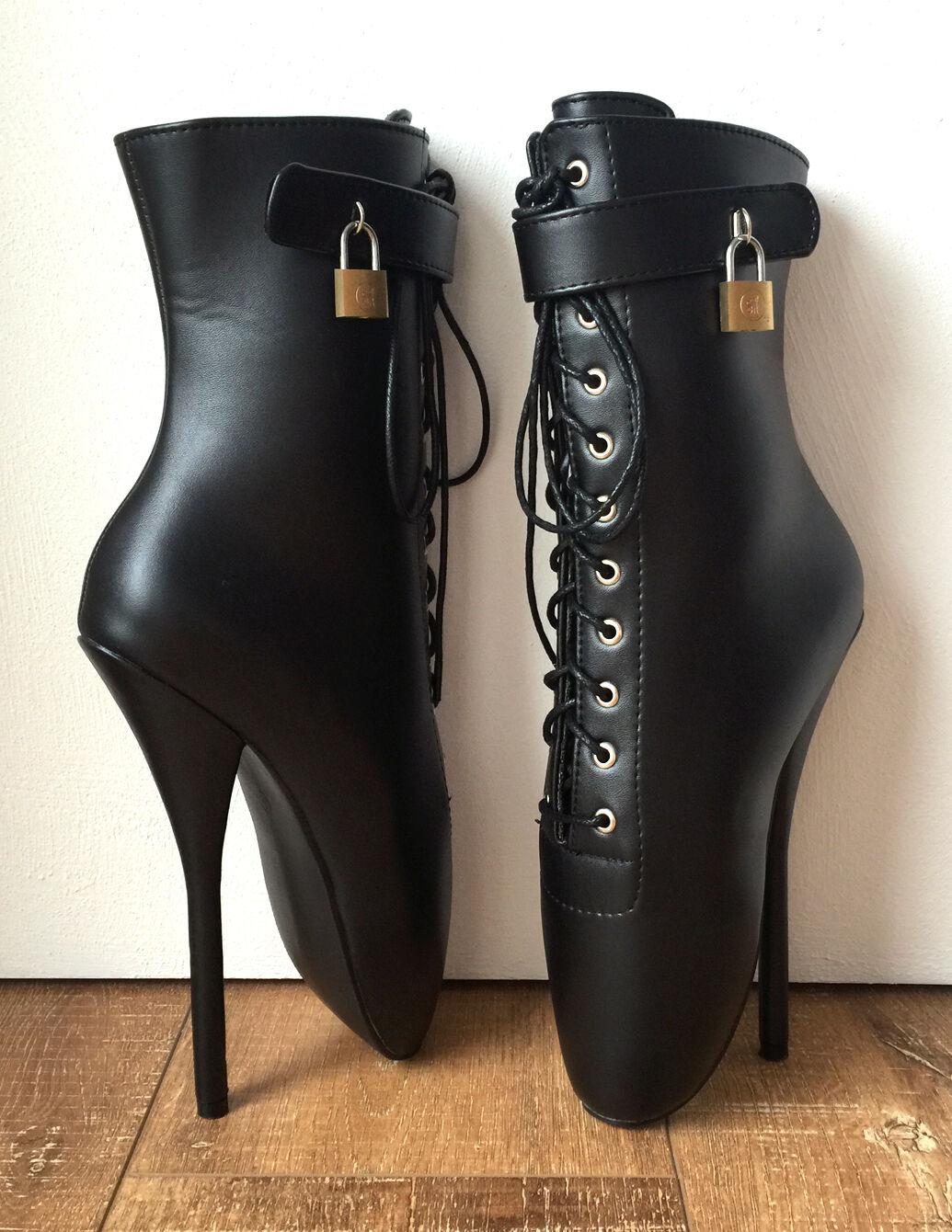 RTBU TRAP Ballet Stiletto Lockable Boots Padlock Padlock Boots Restrain Matte Black 61c3e0